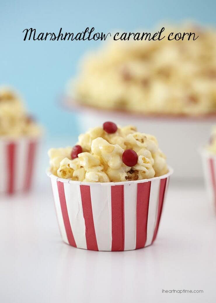Marshmallow Caramel Corn + + 50 Festive Memorial Day BBQ Ideas...creative ways to kick-off summer and celebrate our freedom while remembering our fallen heroes!