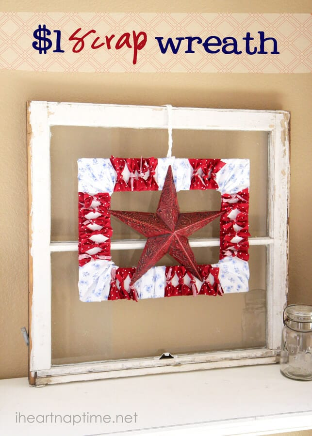 Patriotic $1 Scrap Wreath + 50 Festive Memorial Day BBQ Ideas...creative ways to kick-off summer and celebrate our freedom while remembering our fallen heroes!