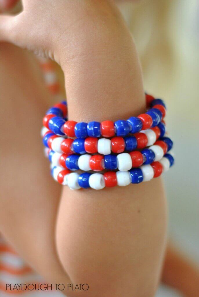 Patriotic Bracelets + 50 Festive Memorial Day BBQ Ideas...creative ways to kick-off summer and celebrate our freedom while remembering our fallen heroes!
