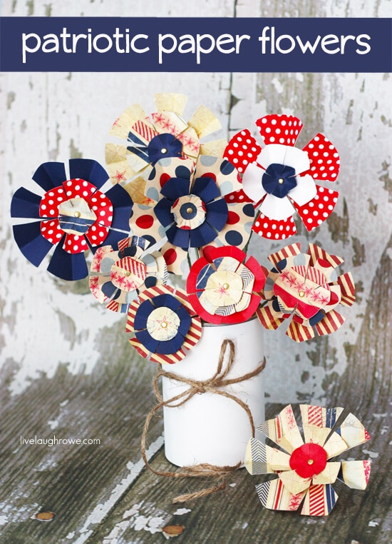 Patriotic Paper Flowers + 50 Festive Memorial Day BBQ Ideas...creative ways to kick-off summer and celebrate our freedom while remembering our fallen heroes!