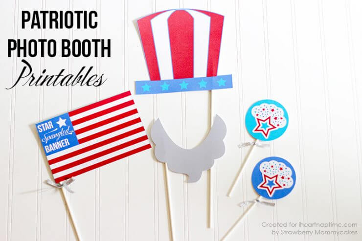 Patriotic Photo Booth Printables + 50 Festive Memorial Day BBQ Ideas...creative ways to kick-off summer and celebrate our freedom while remembering our fallen heroes!