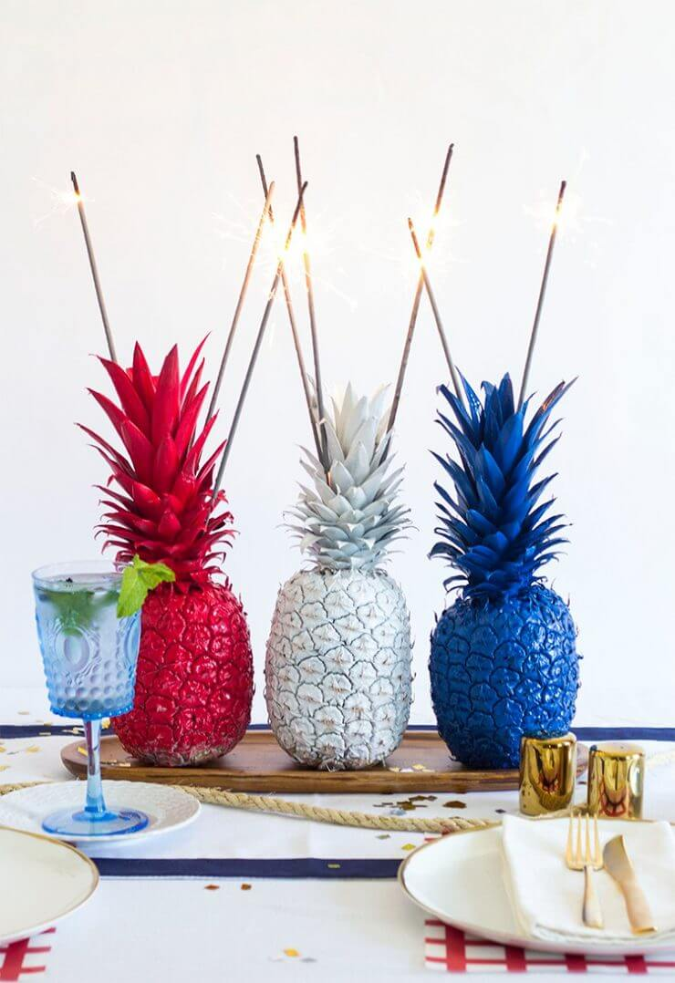 Pineapple Sparkler Centerpiece + 50 Festive Memorial Day BBQ Ideas...creative ways to kick-off summer and celebrate our freedom while remembering our fallen heroes!
