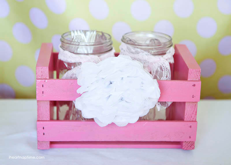 Tissue flower on a crate