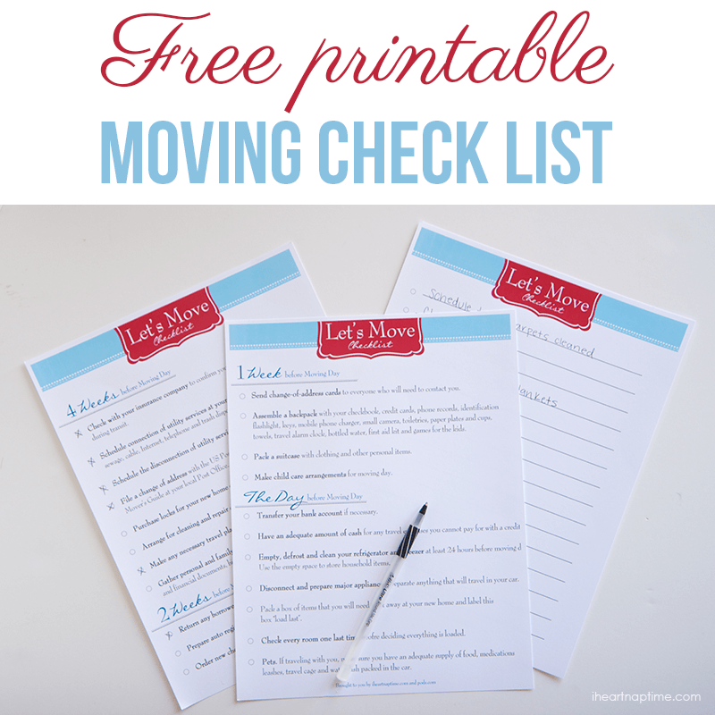 Free printable moving checklist