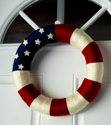 Red, white and blue wreath + 50 Festive Memorial Day BBQ Ideas...creative ways to kick-off summer and celebrate our freedom while remembering our fallen heroes!