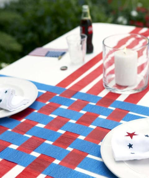 Table runner + 50 Festive red, white and blue ideas...creative ways to kick-off summer and celebrate our freedom while remembering our fallen heroes!