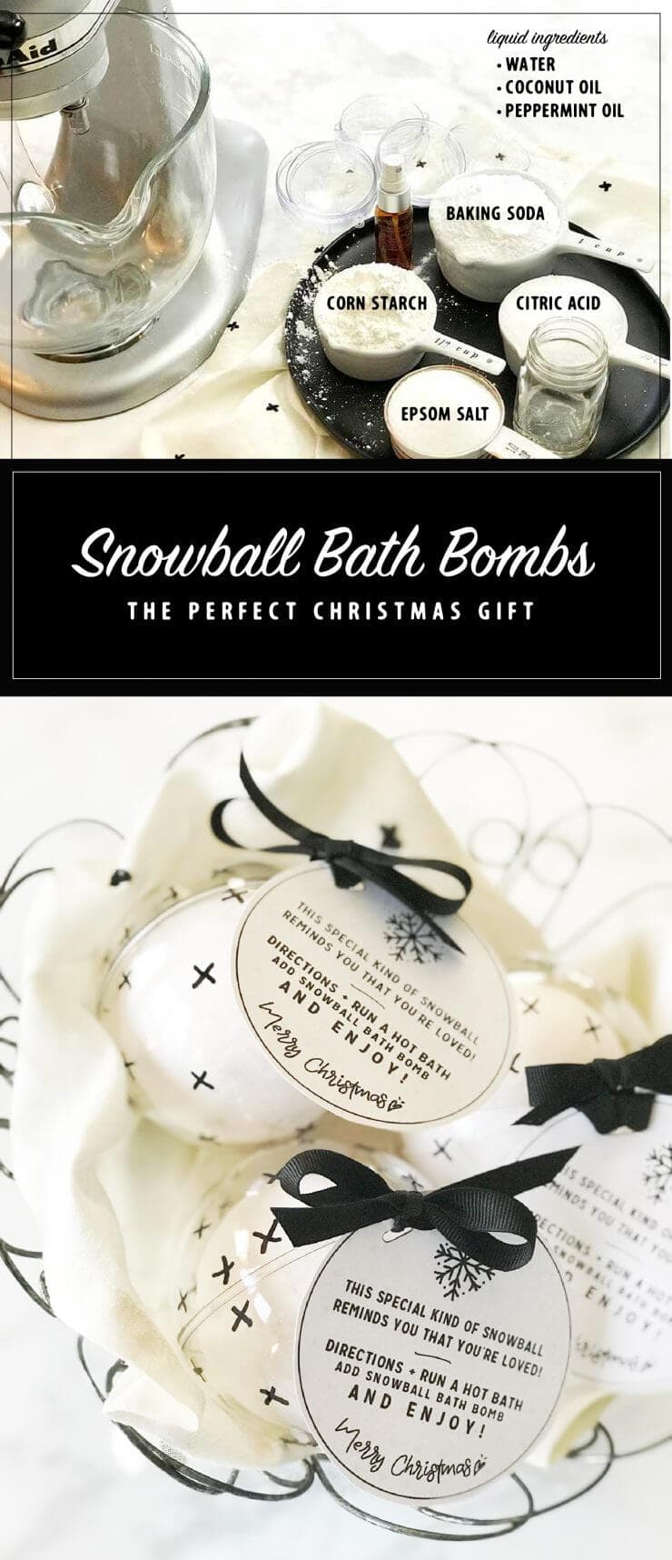 Looking for a simple handmade Christmas gift this year? These easy to make Snowball Bath Bombs will make you the hit of the neighborhood, school or office!