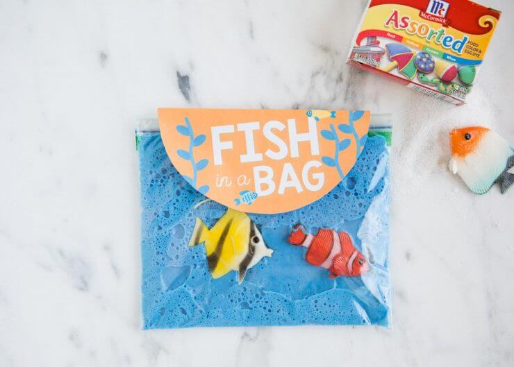 sand slime in a bag with toy fish
