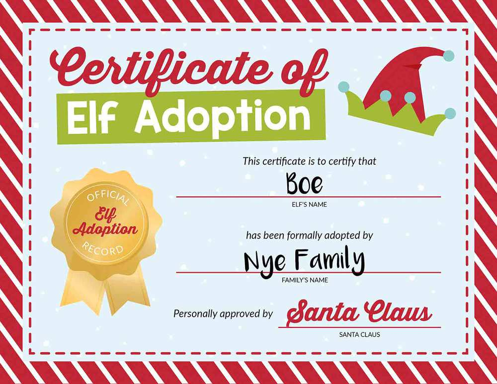 Elf on the shelf name certificate