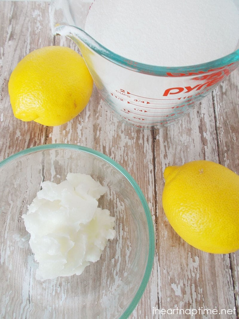 ingredients for lemon sugar scrub on counter
