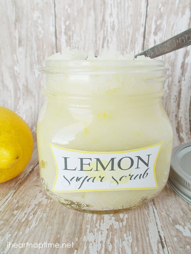 labeled jar of lemon sugar scrub