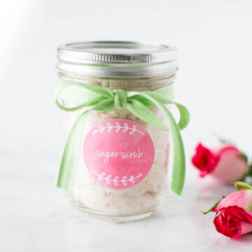 vanilla sugar scrub in a jar with roses
