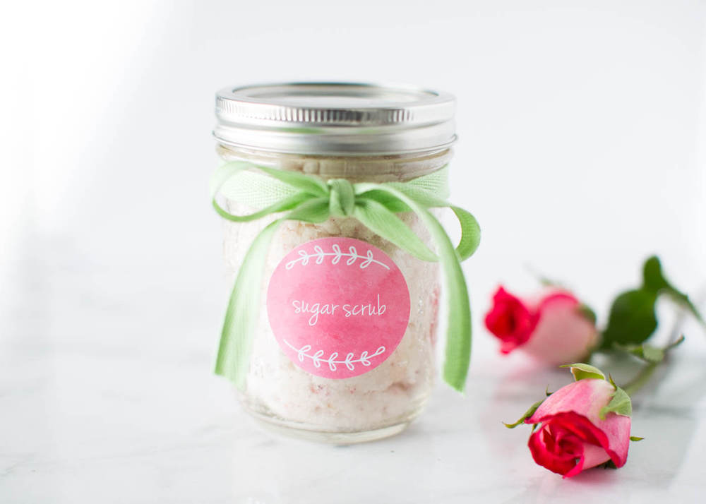 vanilla sugar scrub in a jar with roses