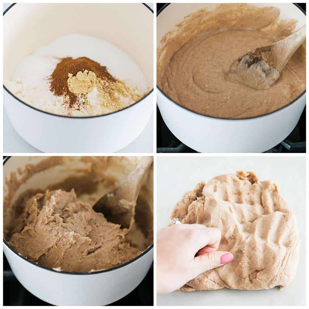 making gingerbread play dough in white pot
