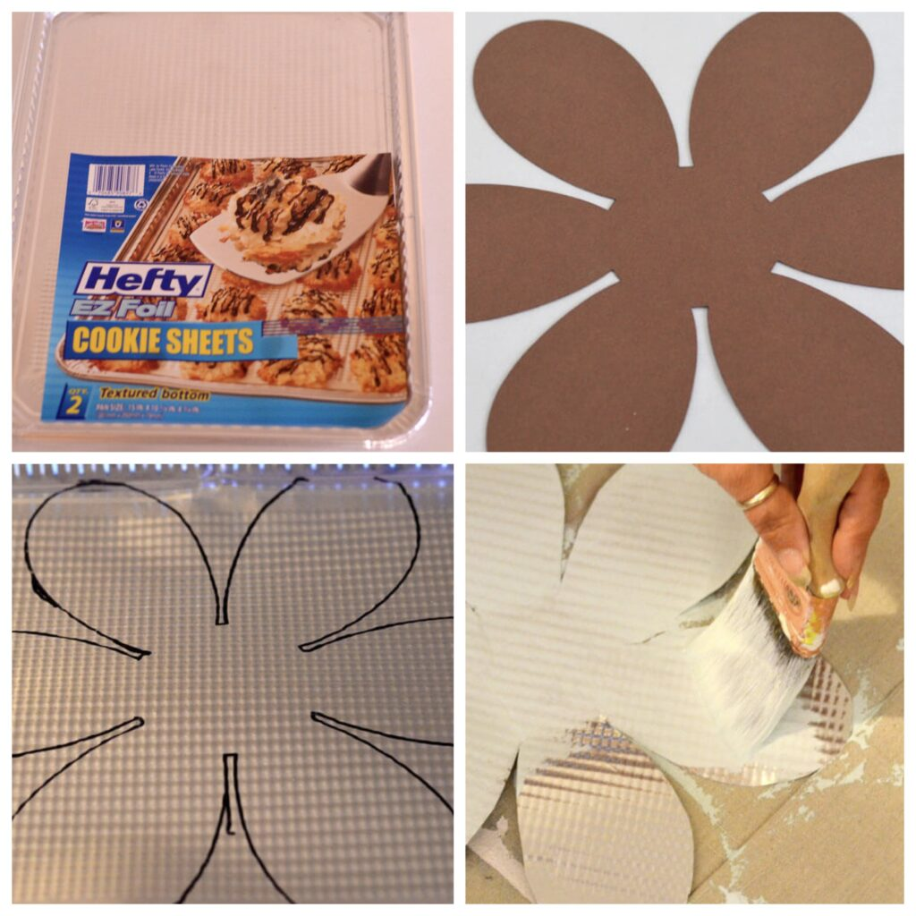 cutting out tin flowers