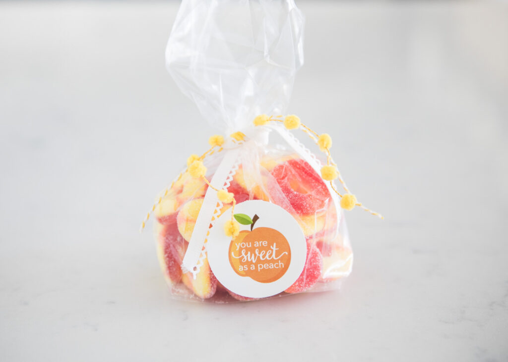 peach rings in a bag