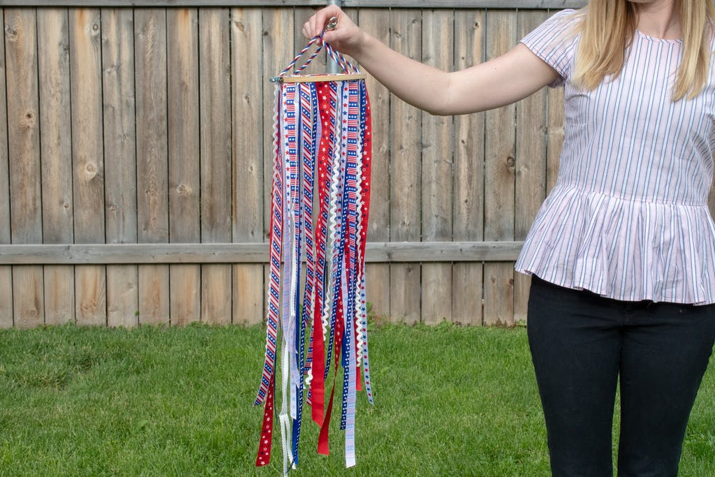 Patriotic Windsock with Embroidery hoop and ribbon