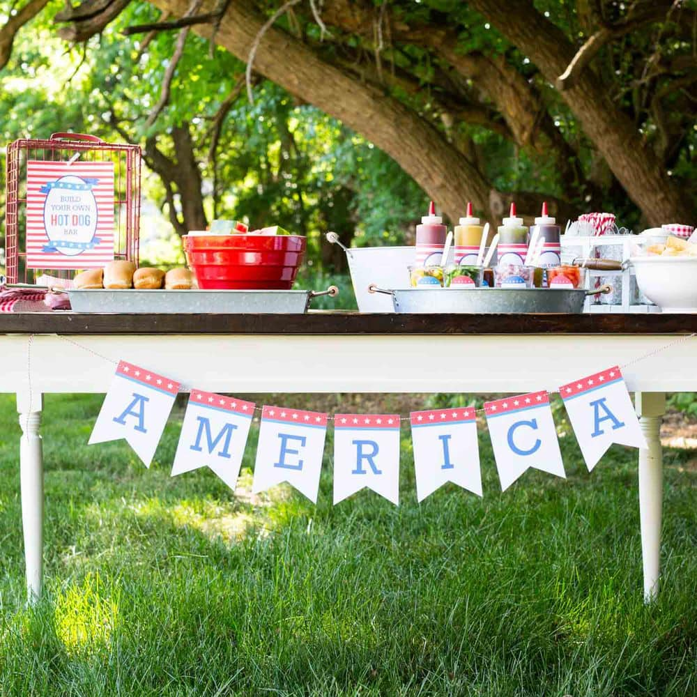 Fourth of July Hot Dog Toppings Bar