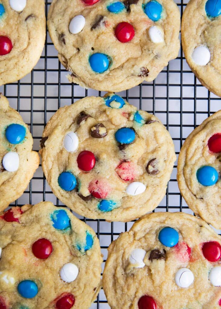 Red, White, and Blue Chocolate Chip/ M&M cookies