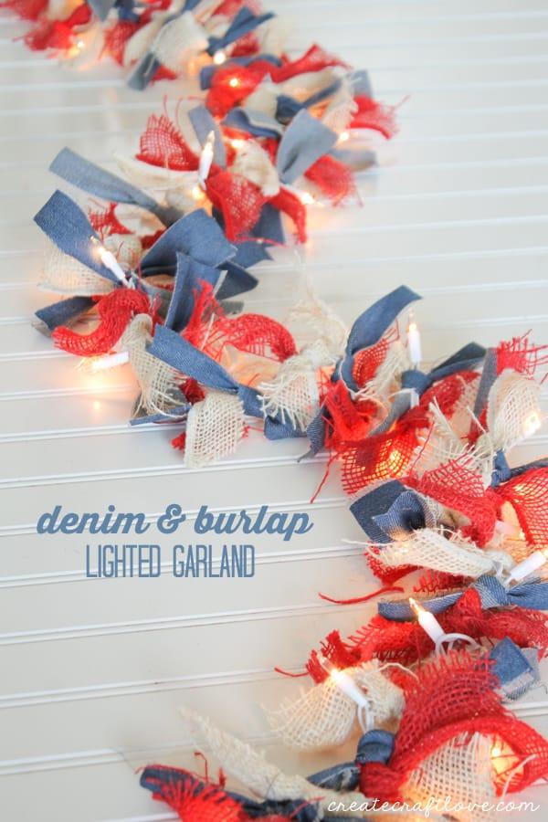 Denim and Burlap Lighted Ribbon Garland