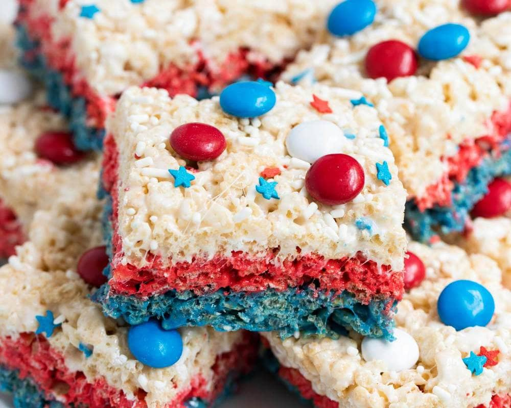 Red, White and blue rice crispies