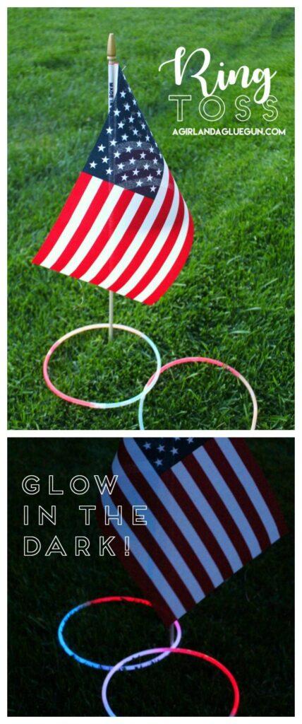 Mini American Flag glow stick ring toss