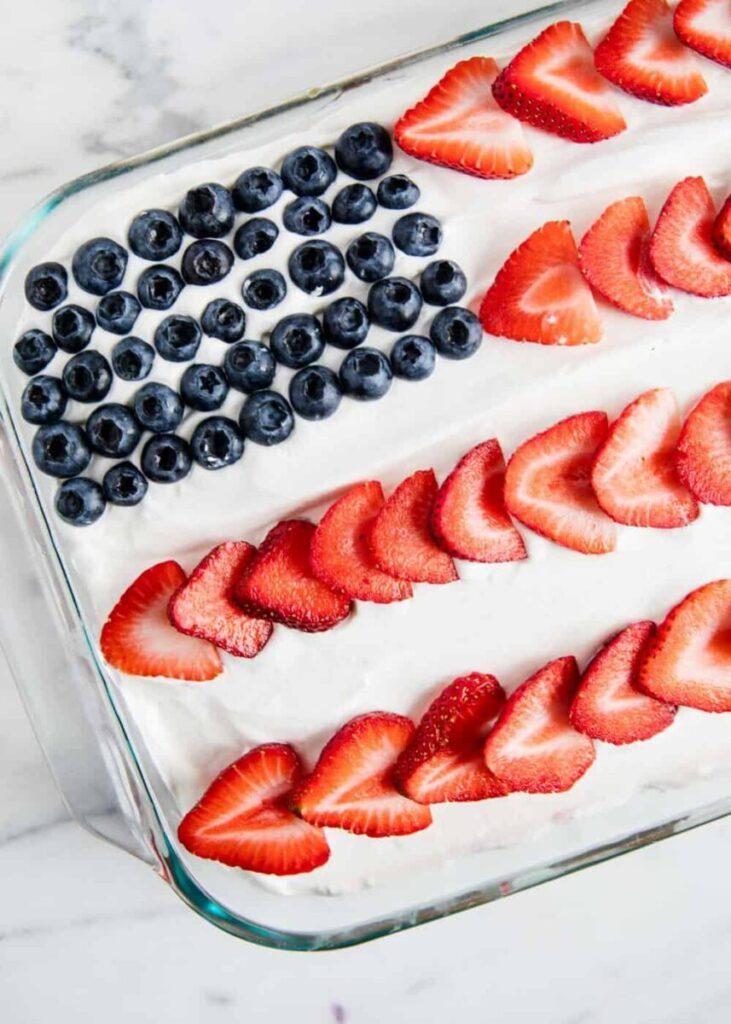 jello poke cake in shape of american flag