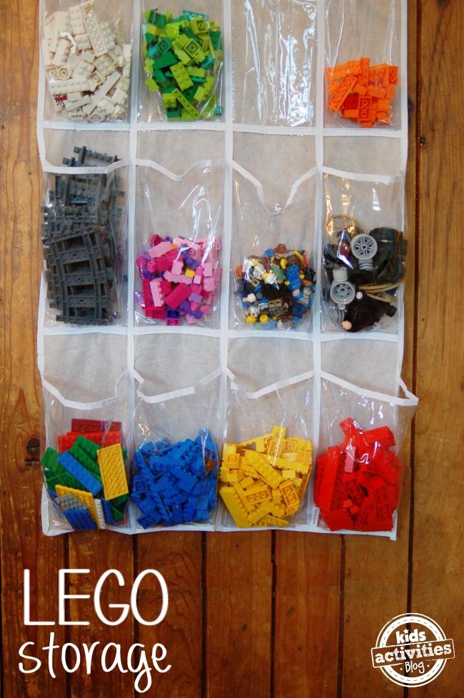 Legos in a shoe storage bag